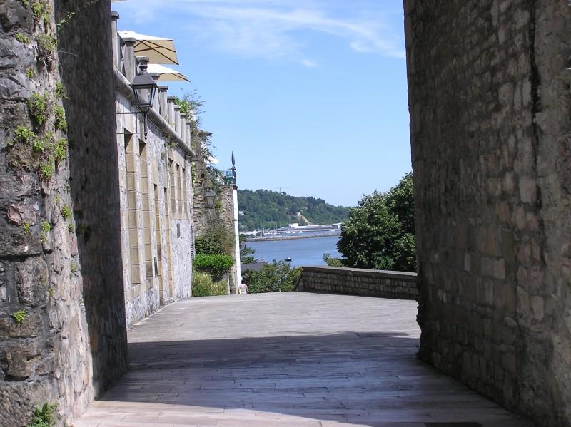 Walking around streets of Hondarribia, Basque Country, near Sebastian